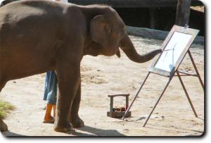 Art by Elephants: Ruby the elephant Artist Painting in Phoenix Zoo